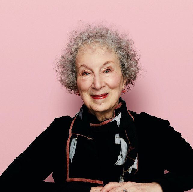 Picture of author Margaret Atwood smiling against a pink background
