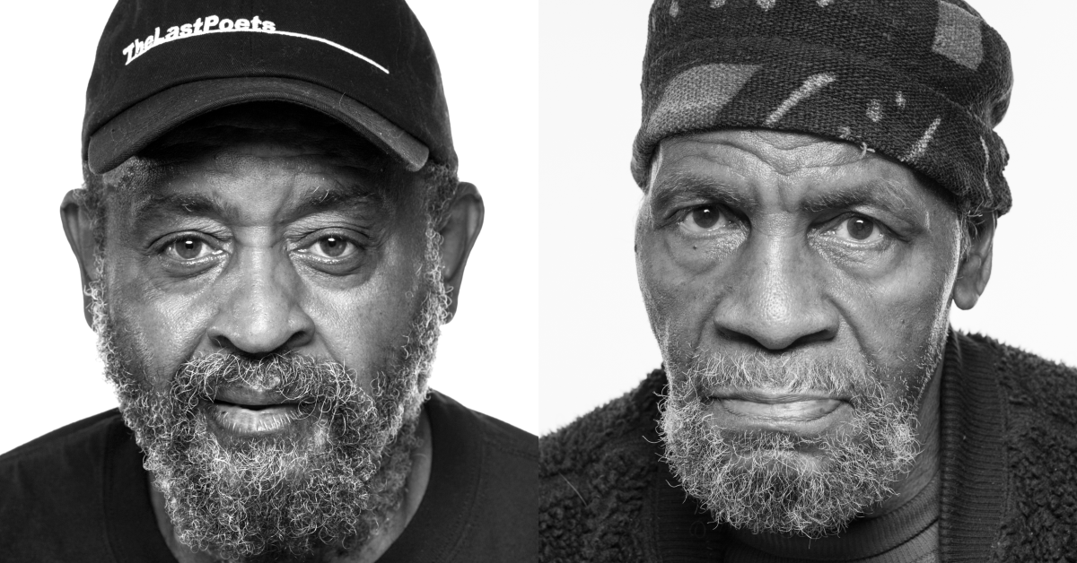 Portrait of two older black men, one with a cap that reads 'the last poets' and the other in a cotton cap. Both with beards, looking intent.