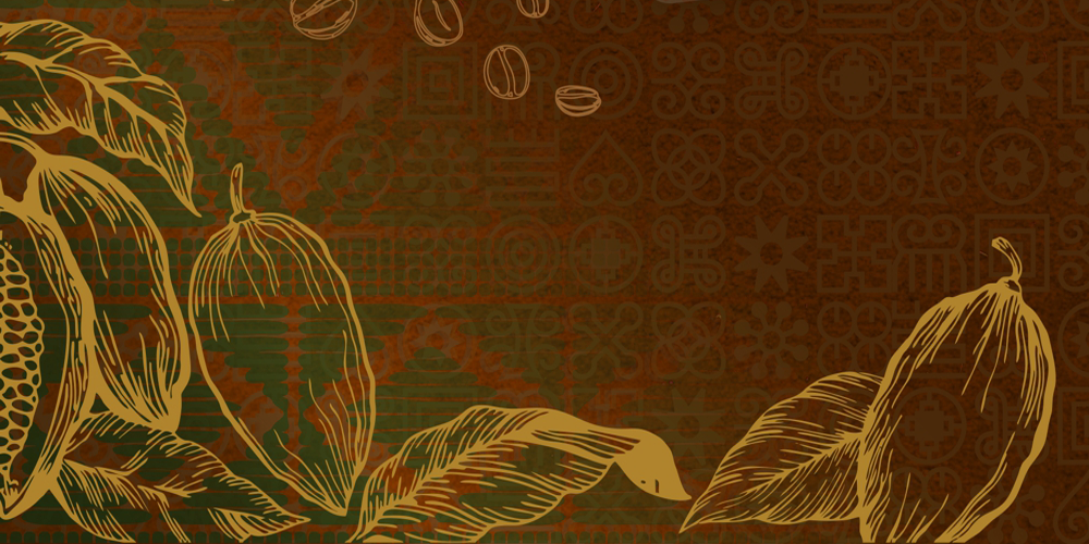Coco crop pattern on a green and black ethnographic background