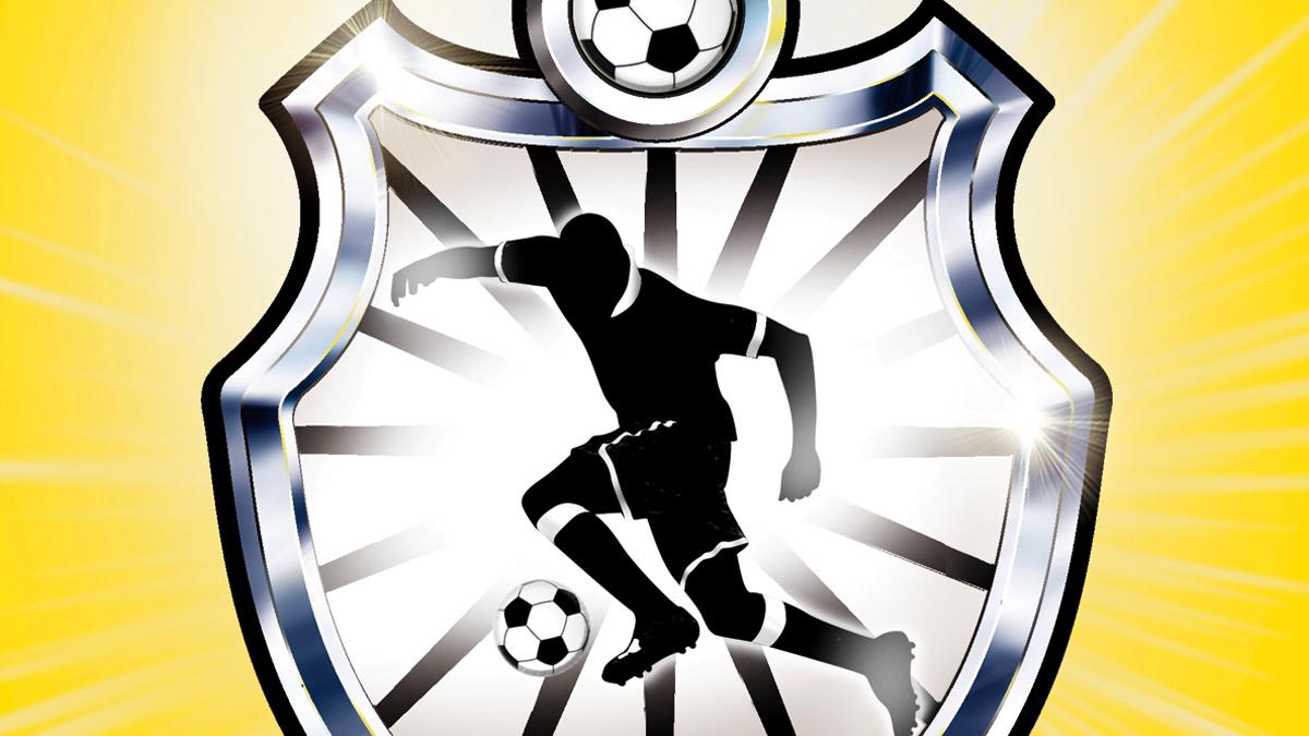 An emblem with a cartoon footballer on the front