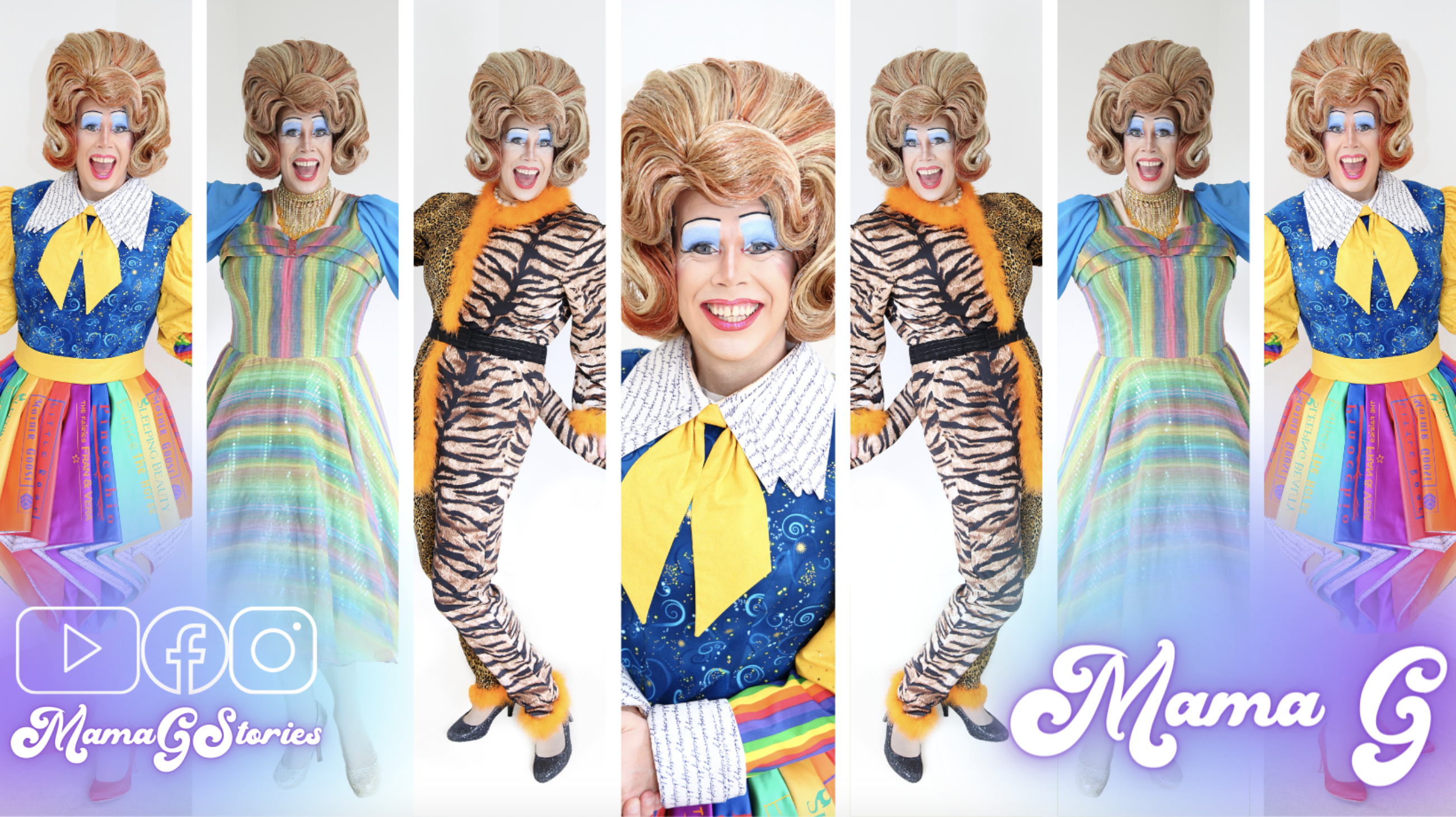 Mama G in drag in various costumes