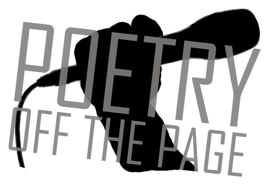 A silhouette of a hand holding a mic with Poetry off the Page overlaying it